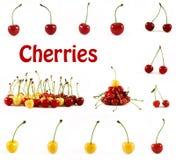 Frutas rojas y amarillas aisladas de las cerezas imagen de archivo libre de regalías