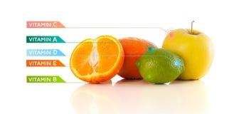 Frutas sanas con símbolos e iconos coloridos de la vitamina Fotografía de archivo libre de regalías