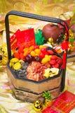 Frutas secadas en fondo chino del Año Nuevo Foto de archivo