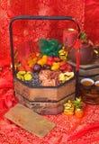 Frutas secadas en fondo chino del Año Nuevo Fotos de archivo