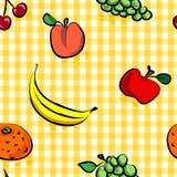 Frutas sujas sem emenda sobre o teste padrão amarelo do guingão Fotos de Stock
