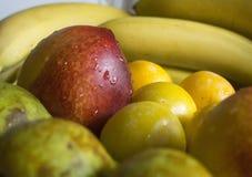 Frutas - surtido de frutas frescas, concepto de la p?rdida de peso imagen de archivo