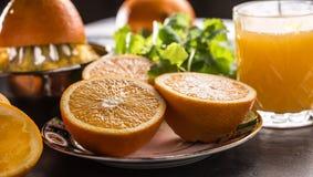 Frutas tropicales e hierbas de las naranjas del jugo fresco del juicer en tablero concreto imagen de archivo