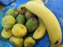 Frutas tropicales en un paquete en la arena en África imagenes de archivo