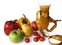 Frutas, vegetais e suco - aptidão Imagens de Stock