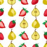 Frutas y bayas Modelo inconsútil de las peras y de las fresas Bordado del pixel cuadrado Vector ilustración del vector
