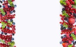 Frutas y bayas rojas y negro-azules en un fondo blanco Bayas en la frontera de la imagen con el espacio de la copia para el texto Imagen de archivo libre de regalías