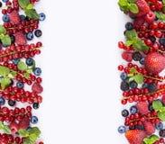 Frutas y bayas rojas y negro-azules Pasas maduras, arándanos, fresas, frambuesas, zarzamoras en el fondo blanco Sea Fotos de archivo