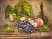 Frutas y botella ilustración del vector
