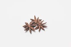 Frutas y semillas de la especia del anís de estrella aisladas en el primer blanco del fondo foto de archivo