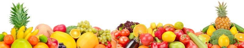Frutas y verduras aisladas en el fondo blanco Collage panorámico Foto ancha con el espacio libre para el texto imagen de archivo libre de regalías