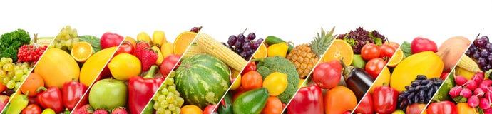 Frutas y verduras aisladas en el fondo blanco Collage panorámico Foto ancha con el espacio libre para el texto fotos de archivo libres de regalías