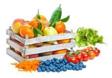 Frutas y verduras, caja fotografía de archivo