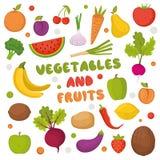 Frutas y verduras coloridas fijadas Stock de ilustración