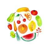 Frutas y verduras de la acuarela imágenes de archivo libres de regalías