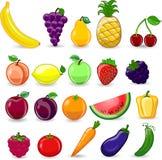 Frutas y verduras de la historieta Fotografía de archivo libre de regalías