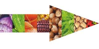 Frutas y verduras del color Alimento fresco Concepto collage Imágenes de archivo libres de regalías