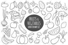 Frutas y verduras dibujadas mano Ilustración del vector Imagenes de archivo