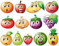 Frutas y verduras frescas con la cara Imágenes de archivo libres de regalías