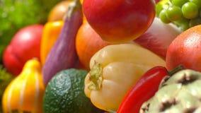 Frutas y verduras maduras frescas clasificadas Fondo del concepto de la comida imagen de archivo