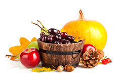 Frutas y verduras otoñales de la cosecha con las hojas amarillas fotografía de archivo