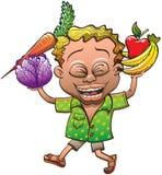 Frutas y verduras que llevan del muchacho feliz stock de ilustración