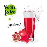 Frutas y vidrio de Garnet Juice Fresh Hand Drawn Watercolor en el fondo blanco Fotografía de archivo