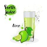 Frutas y vidrio de Juice Fresh Hand Drawn Watercolor de la cal en el fondo blanco Imagenes de archivo