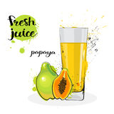 Frutas y vidrio de Juice Fresh Hand Drawn Watercolor de la papaya en el fondo blanco Imagenes de archivo