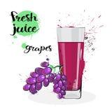 Frutas y vidrio de Juice Fresh Hand Drawn Watercolor de las uvas en el fondo blanco Imágenes de archivo libres de regalías