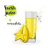 Frutas y vidrio de Juice Fresh Hand Drawn Watercolor del Carambola en el fondo blanco Foto de archivo libre de regalías