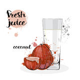 Frutas y vidrio de Juice Fresh Hand Drawn Watercolor del coco en el fondo blanco Foto de archivo
