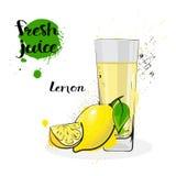 Frutas y vidrio de Juice Fresh Hand Drawn Watercolor del limón en el fondo blanco Imagen de archivo libre de regalías
