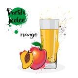 Frutas y vidrio de Juice Fresh Hand Drawn Watercolor del mango en el fondo blanco Fotografía de archivo libre de regalías
