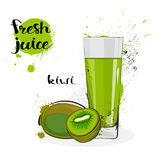 Frutas y vidrio de Kiwi Juice Fresh Hand Drawn Watercolor en el fondo blanco Imagenes de archivo