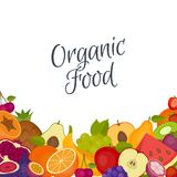 Frutifica o fundo Alimento saudável Estilo liso, ilustração do vetor ilustração royalty free