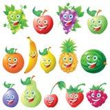 Frutifica o jogo de caracteres dos desenhos animados dos ícones Foto de Stock Royalty Free