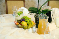 Frutis on banquet table. Fruits and juice on banquet table stock photo