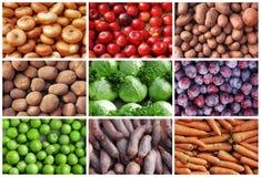 Frutis e colagem dos vegetais Fotos de Stock Royalty Free