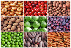 Frutis and vegetables collage Royalty Free Stock Photos