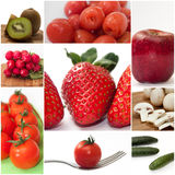 Fruits and vegetables mixed collage image Royalty Free Stock Images