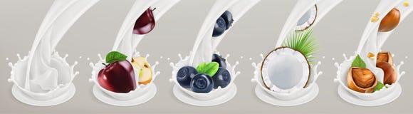 Fruto, bagas e iogurte Ilustração realística Grupo do ícone do vetor Fotografia de Stock