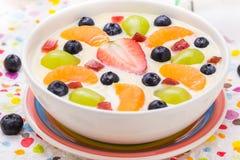 Fruto colorido leitoso delicioso do pudim de baunilha foto de stock royalty free