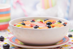 Fruto colorido leitoso delicioso do pudim de baunilha fotos de stock