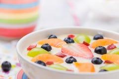 Fruto colorido leitoso delicioso do pudim de baunilha fotografia de stock