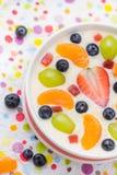 Fruto colorido leitoso delicioso do pudim de baunilha fotografia de stock royalty free