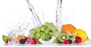 Fruto com respingo da água Fotos de Stock Royalty Free