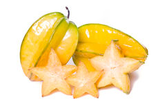 Fruto da maçã de estrela com parcialmente seção transversal isolado no branco Imagens de Stock Royalty Free