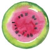 Fruto da melancia Fundo pintado aquarela do botão do círculo Imagem de Stock