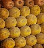 Fruto de quivi fresco como o fundo Mentira africana tropical do fruto em um suporte em C4marraquexe, Marrocos imagem de stock